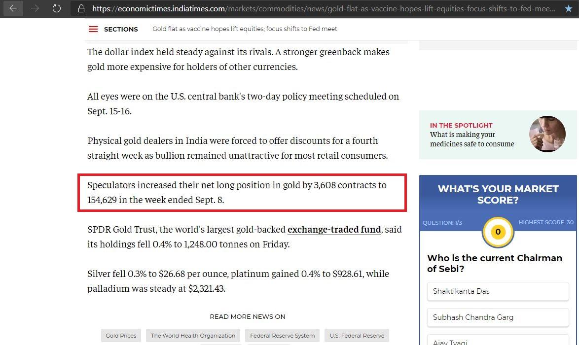 Số lượng các hợp đồng đầu cơ mua vàng ròng tăng đột biến là tín hiệu lạc quan cho giá vàng