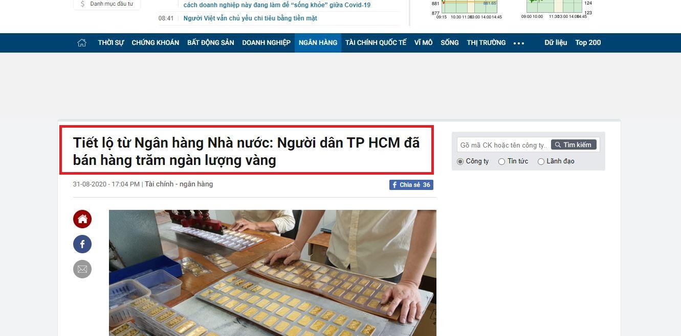 Thông tin hàng trăm ngàn lượng vàng đã được bán ra bởi người dân tp Hồ Chí Minh trong tháng 8 vừa qua